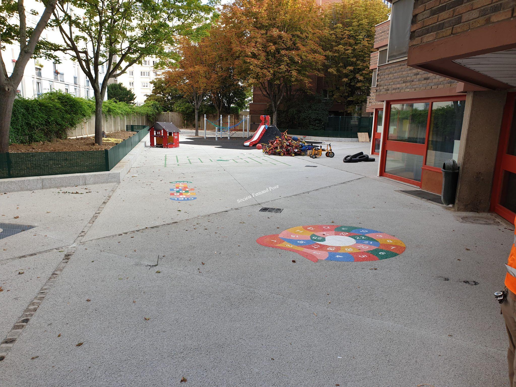 Béton drainant, Ecole des Pyrénées, Paris 20