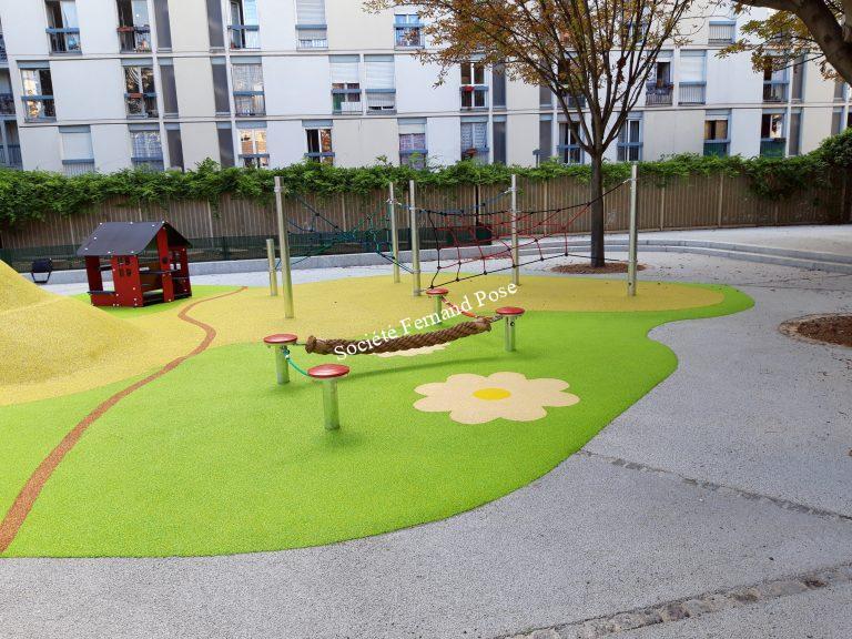 Béton drainant Ecole Rampal, Paris 19